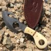 "7"" Skinner Knife Bone Handle Hunting Knife with Gut Hook And Finger Hole"
