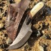 "8.5"" Damascus Skinner Knife Bone Handle Series With Leather Sheath"