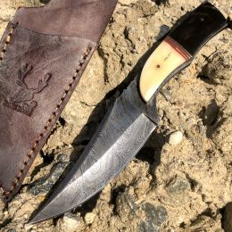 "8.5"" Hunting Knife Damascus Skinner Bone Handle Series With Leather Sheath"