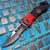 "8"" Defender Xtreme Black and Red Spring Assisted Knife with Belt Clip"