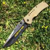 "8.5"" Hunt-Down Brown Folding Spring Assisted Knife with Belt Clip"