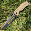 "8"" Hunt-Down Brown Folding Spring Assisted Knife with Bottle Opener"
