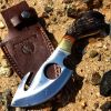 "7"" Huntdown Full Tang Skinner Knife with Fore Finger grip and Leather Sheath"